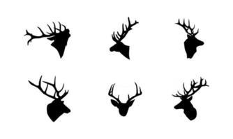 Ilustración de vector de silueta de cabeza de ciervo