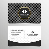 Elegant Minimal Black and White Business Card Template With Gingham Pattern vector
