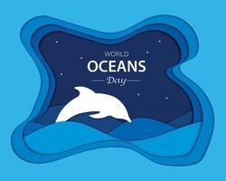 World Oceans Day In Paper vector