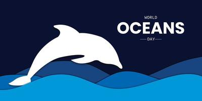 World Oceans Day Wave Dolphin Vector