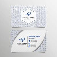 Modern Blue and Gray Business Card Template With Small Dots vector