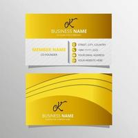 Stylish Yellow Curved Business Card Template With Abstract Shapes vector