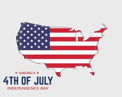 America Independence Day Flag And America Map vector