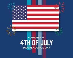 America Independence Day Flag Firework Color Line vector