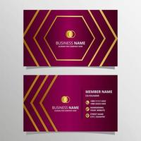Abstract Dark Pink Business Card Template With Gold Lines vector