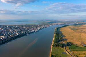 Aerial view of Galati City, Romania with sunset warm light photo