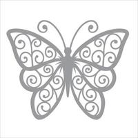 Butterfly clipart design and laser cutting template vector