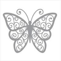 diseño de clipart de mariposa y plantilla de corte por láser vector