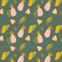patrón sin costuras de piña en estilo dibujado a mano traer ilustración vectorial fondo de repetición vectorial para tela colorida de verano vector