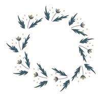 Vector flower wreath with blossom and leaves Floral frame for greeting invitation wedding cards design Isolated white background