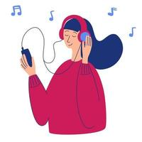 Vector cartoon illustration of young pretty woman in headphones listening music Music lover relaxing when enjoying her favorite song Woman character holding smartphone in her hand Radio podcast