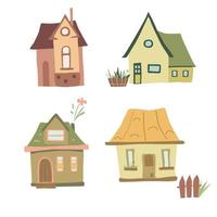 Set of four colorful cozy houses in a funny cartoon style Graphic design element Funny vector illustration on white isolated background