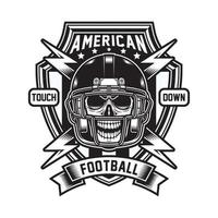American Football Skull Emblem In Black And White vector