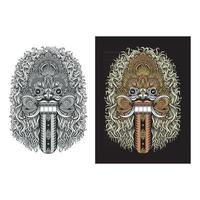 Traditional Balinese Demon Mask vector
