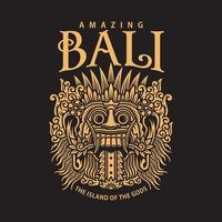 Traditional Balinese Mask Vector Graphic On Black