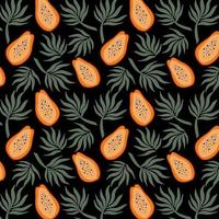 Hand drawn seamless pattern with papayas and palm leaves Bring vector illustration Vector repeat background for colorful summer fabric