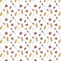 Seamless pattern with chocolate covered strawberries a delicious drink a cocktail straw and a cake Hand drawn style Vector repeat background for fabric