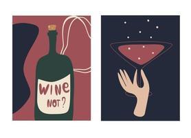 tarjeta de felicitación e invitación de fiesta conjunto ilustración de vector de vino estilo dibujado a mano