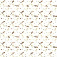 Seamless pattern glass of cocktails with umbrella clink and stars Hand drawing Vector illustration Isolated white background