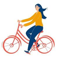 Young beautiful girl with glasses rides a red bicycle Girl healthy leisure rides bike side profile view Flat vector illustration on white background