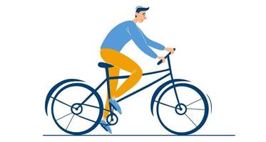 Young happy guy rides a bike Male character alone Summer or spring biking activity outdoor Stylish guy on bicycle flat vector illustration on white background