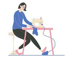 Young woman sewing on an industrial sewing machine Fashion designer needlewoman or seamstress at work Vector cartoon illustration Isolated in white background