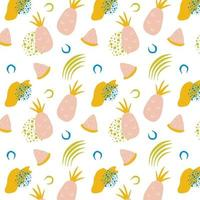 Tropical seamless pattern with pink pineapples pineapple slices and abstract shapes Vector illustration
