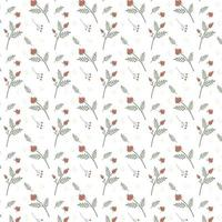 Floral seamless pattern with dogrose and rosehip Vector illustration Simple background of flowers for fabric wraps wallpaper paper Isolated white background