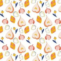 Vector seamless pattern with ripe pears lychees and flowers Trendy hand drawn textures Modern abstract design for paper cover fabric interior decor and other users