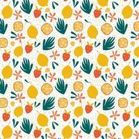 Exotic fruit seamless pattern in hand drawn style Fresh lemons oranges strawberries and bright flowers background Vector repeat background good for printing