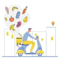Online food order and food delivery service A courier guy on a moped with trunk case box carries a parcel Online delivery service concept online order tracking delivery home and office Vector illustration