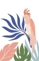 loro cacatúa en hojas tropicales vector loro en mano dibujar estilo aislado sobre fondo blanco