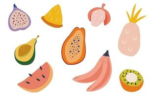 Set of doodle tropical fruits Natural tropical fruit papaya pineapple banana avocado fig lychee dragon fruit watermelon kiwi Flat vector cartoon illustration isolated on white background