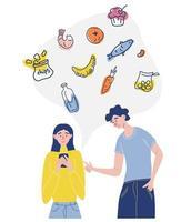 Collage sobre el tema de la entrega, una niña y un chico piden comida a través de su teléfono celular juntos, una variedad de opciones de alimentos, concepto de pedido en línea de alimentos, ilustración vectorial plana aislada vector