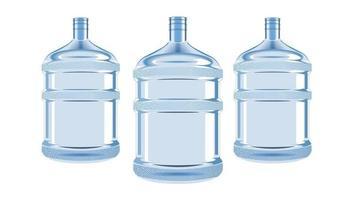 Botella de agua de plástico para enfriador aislado vector