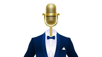 microphone in tuxedo isolated vector