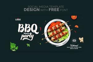 plantilla de redes sociales de banner de menú de comida vector