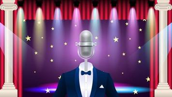 microphone in tuxedo on on stage vector