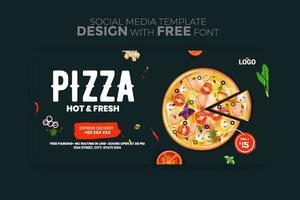 Food menu banner social media template vector