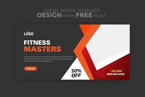 Web banner template with sports concept Social media ad flyer for gym Fitness and gym vector