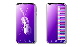 music background on smartphone realistic vector