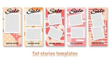 Set Story abstract geometric templates vector