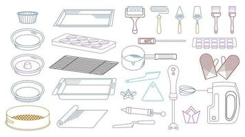 set of tools for cooking outline vector