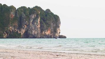Tropical Sandy Railay West Beach with Limestone Cliffs video