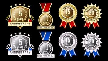 Set gold and silver anniversary labels vector
