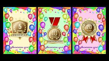 Colorful Invintation card Anniversary Holiday vector
