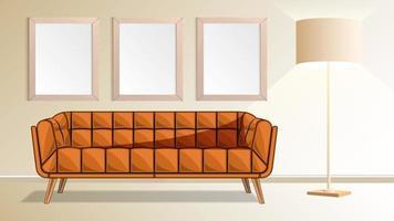 marcos de madera realistas en la pared y la sala de lámparas de pie vector