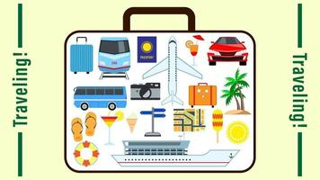 Traveling suitcace cartoon style vector