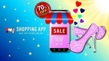Online Shopping Smartphone and Shoes Realistic vector