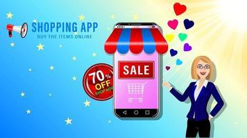 niña de compras en línea y dibujos animados de teléfonos inteligentes vector